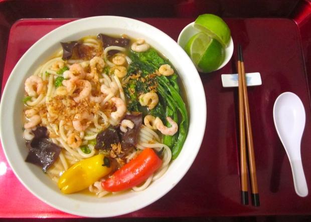 Shrimp & Chili Broth With Rice Bucatini, Broccolini, Shrimp And Wood Ear Mushroom