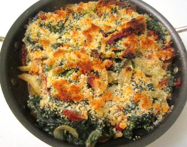 Sauteed Spinach With Garlic, Bacon, Onion And Parmesan