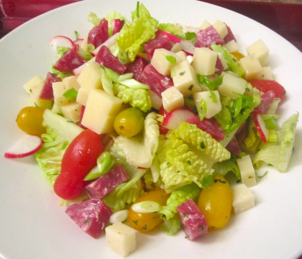 Salad Of Romaine, Swiss, Peccorino, Salame, Radish And Grape Tomatoes In Sherry Vinaigrette