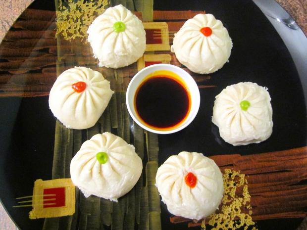 Steamed Pork Buns (Baozi), Sriracha, Wasabi