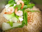add bok choy and cooked shrimp let everything heat through without simmering, check/adjust seasoning