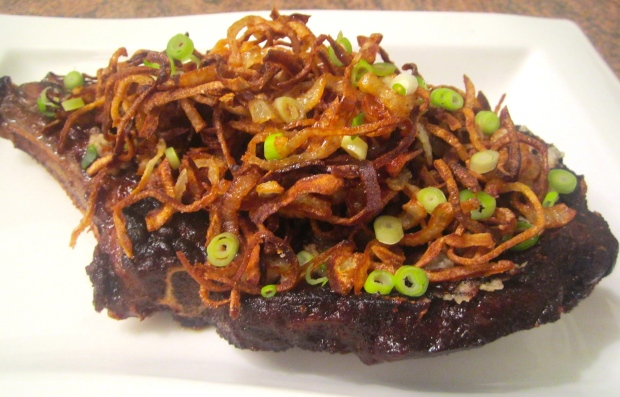 top with fried onions and sliced scallions