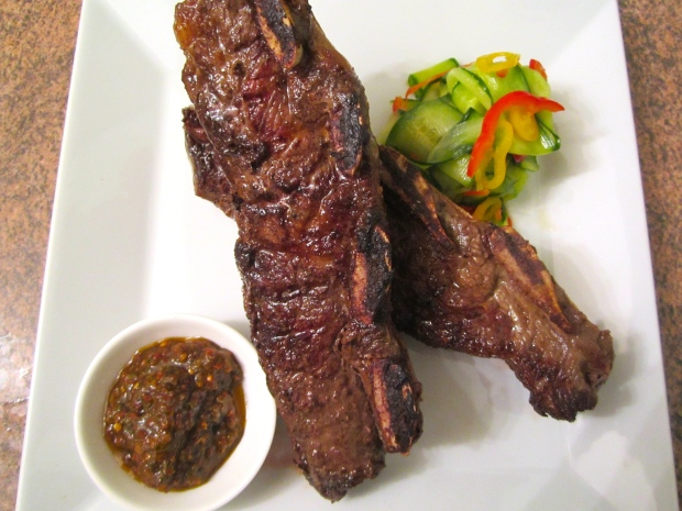 Grilled Beef Rib's, Spicy Chimichurri, Asian Style Pickled Cucumbers