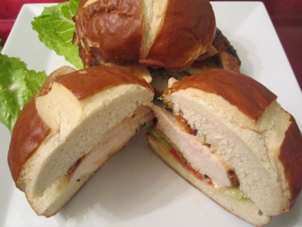 Chicken Sandwich On A Pretzel Roll