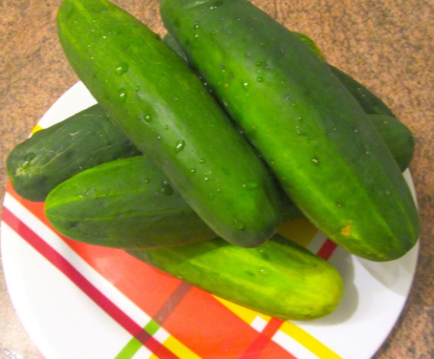 wash cucumbers, pat dry