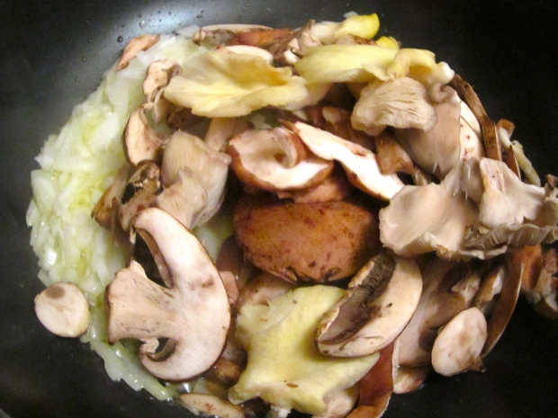 saute diced onions and fresh mushrooms in butteruntil onions are opaque