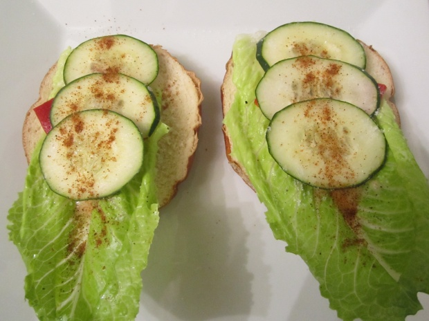 top with cucumbers, sprinkle liberally with kosher salt and cayenne pepper