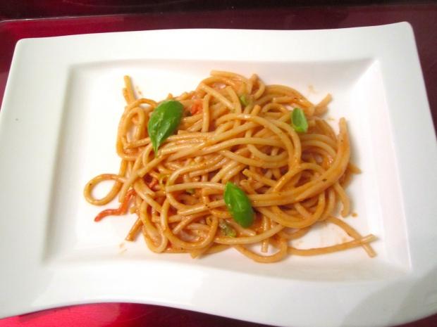 bucatini in creamy tomato sauce