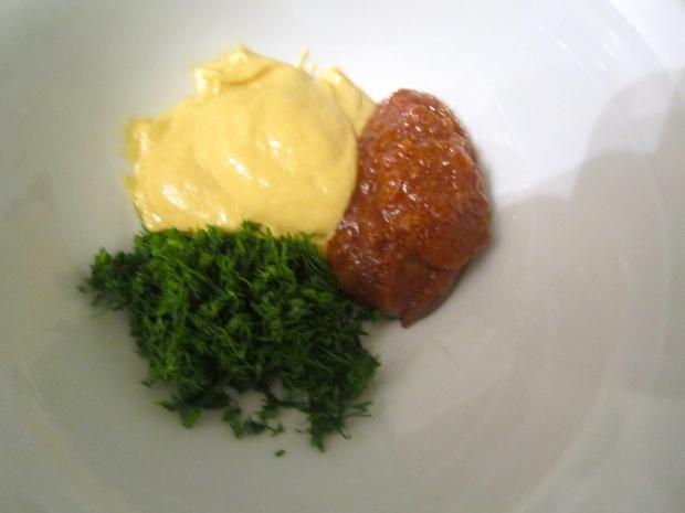 dijon mustard, sweet mustard, dill leaves