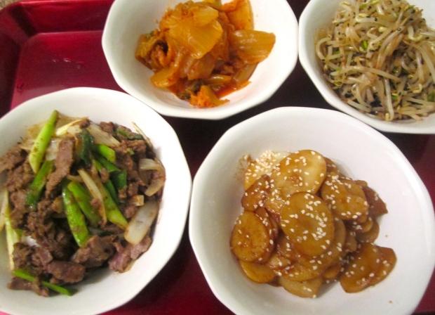 Bulgogi, Kimchi, Sukyu Namul,