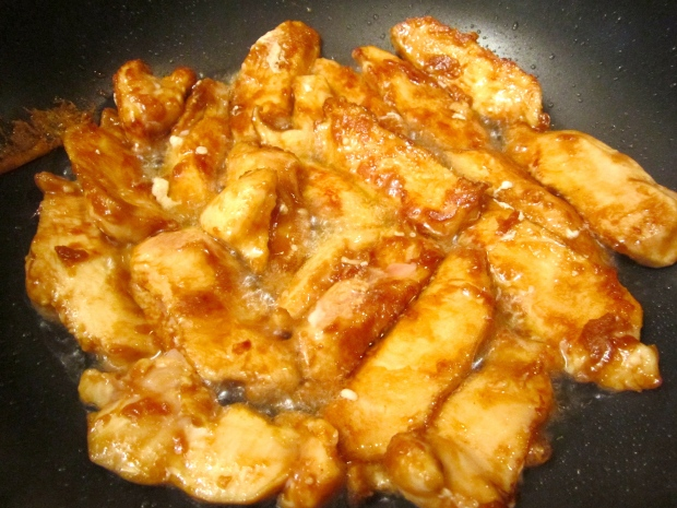 season sliced chicken with salt, five spice powder and soy sauce, dust with cornstarch and stir fry in peanut oil