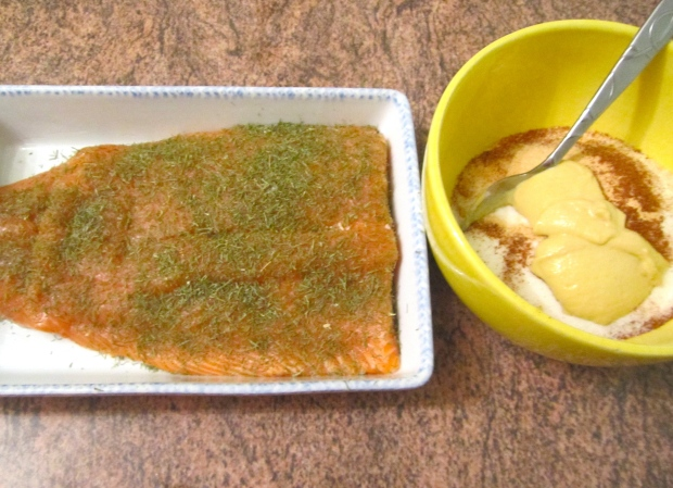 sprinkle top of salmon with plenty of dill leaves, mix dry-marinade ingredients