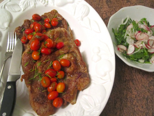 Pork Blade Steak & Arugula In White Balsamic Vinaigrette