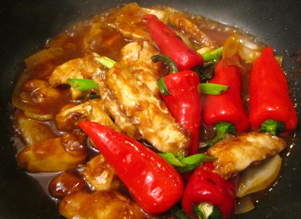 return chicken, chilies and scallions to sauce, remove from heat, check/adjust seasoning