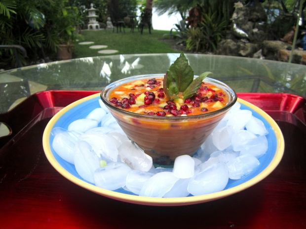Iced Tomato Soup With Tropical Fruit