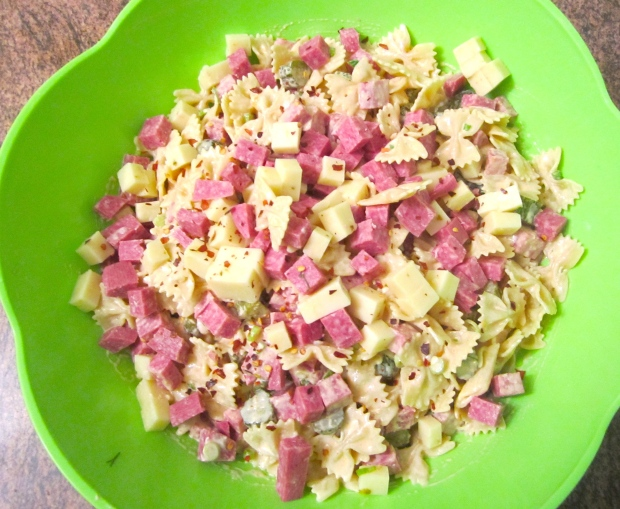 Farfalle Salad With Salame, Pepperjack And Cornichons