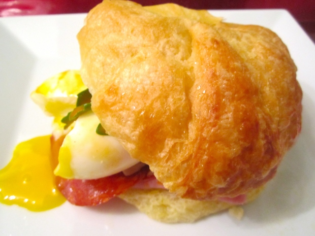Breakfast Of Champions  # 38 – Croissant, Ham, Spicy Chorizo & Soft Boiled Egg