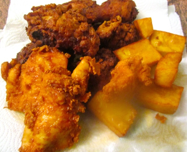 when potatoes and chicken are done, remove to absorbent paper