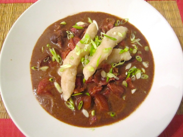 Jamaican Black Bean Soup With Smoked Ham Hocks And Spinners