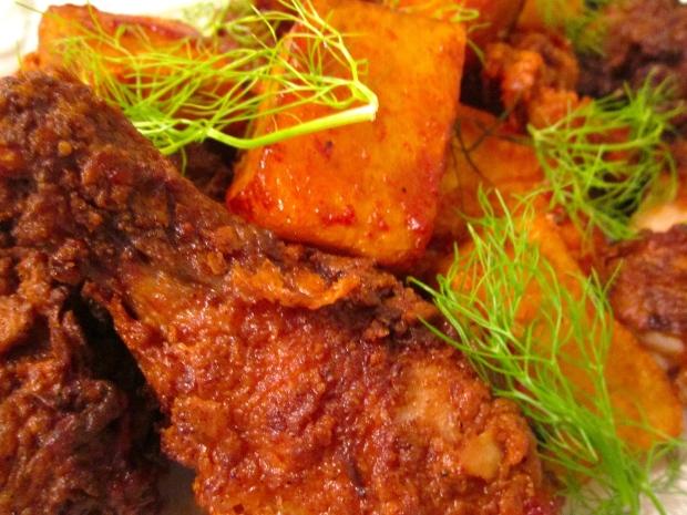 The Ultimate Fried Chicken & Angry Potatoes  (Papas Bravas)