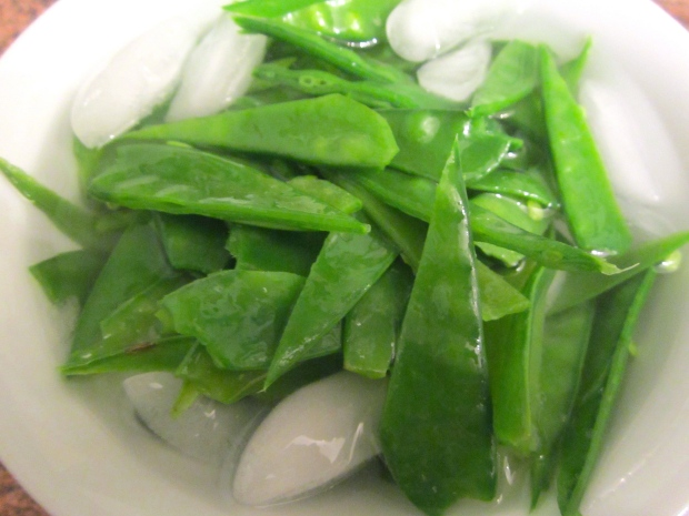 after simmering snpw peas one minute, schock in ice water