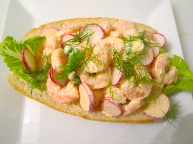 top with generaos amount of shrimp salad