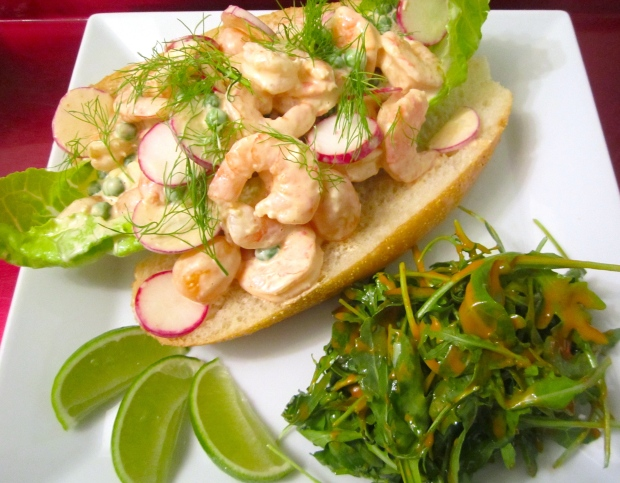 serve with lime wedges and arugula in french dressing