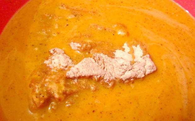 coat floured chicken with eggwash