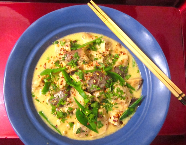 Coconut Soup With Silkened Chicken & Snow Peas