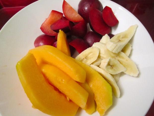 plum, banana & cantaloupe