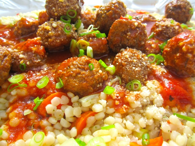 Lamb Meat Balls In Harissa / Tomato Sauce With Garlicky Pearl Pasta And Feta Cheese