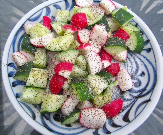 cut cucumbers and radishes into bite-sized pieces, season with plenty kosher salt and freshly ground black pepper, let marinade for 20 minutes, discard liquid, add garlic oil and cider vinegar to taste