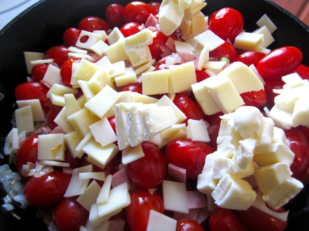 add half diced swiss cheese and half diced brie cheese