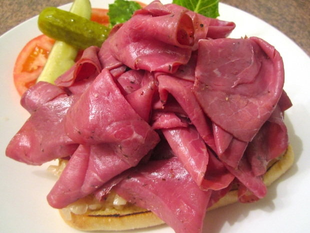 top with finely sliced pastrami