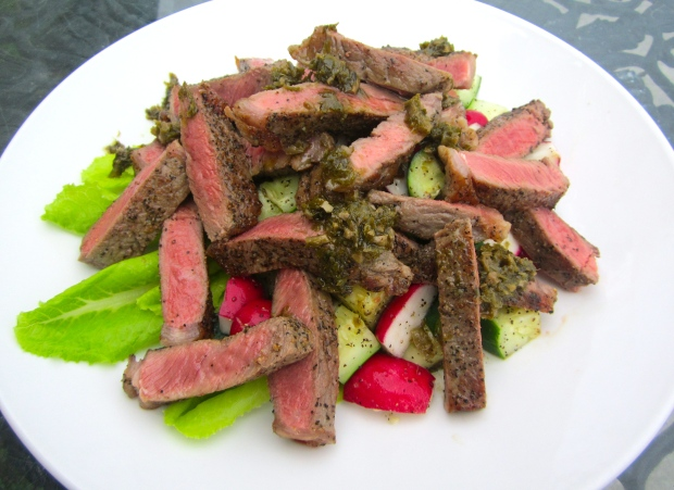 top with steak, drizzle with chimichurri