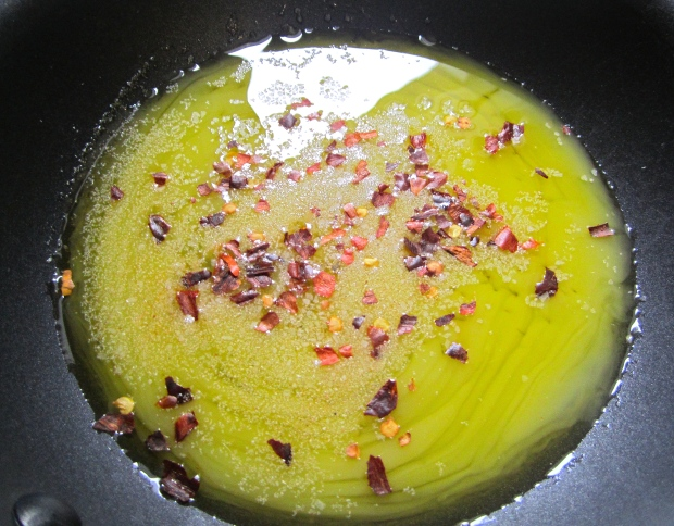 saute chili flakes in butter