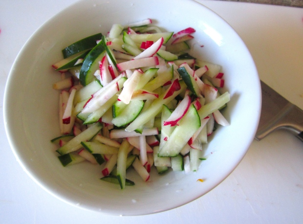 meanwhile, slice radishes and cucumber into julienne, season with kosher salt, let sit for 20 minutes, squeeze dry, discard juices