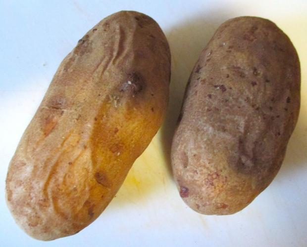 bake potatoes until soft, let cool, remove flesh