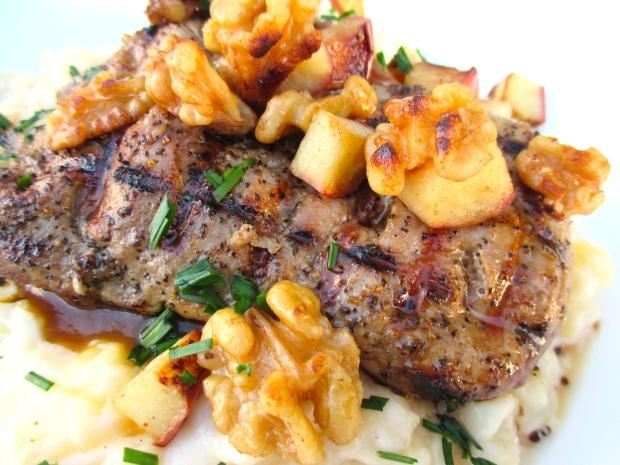 Grilled Pork Tenderloin, Caramelized Apples And Walnuts
