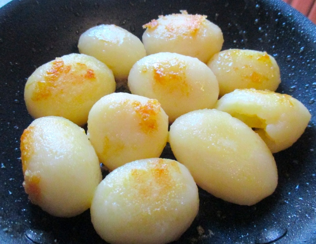 season blanched potatoes with kosher salt and white pepper, saute in duck fat
