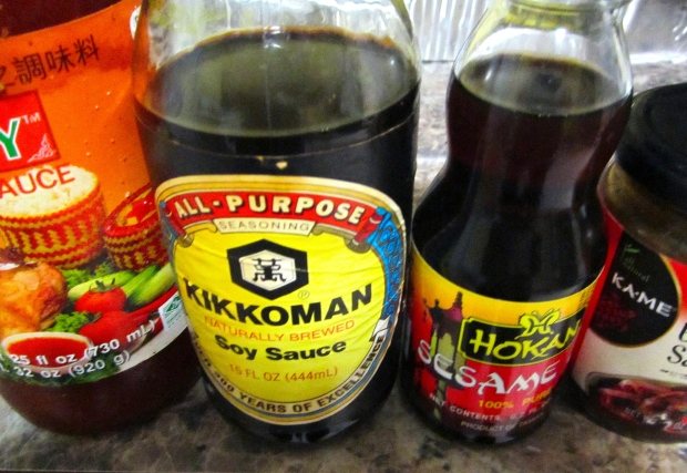 fermented bean sauce, sweet chili sauce, soy sauce and sesame oil