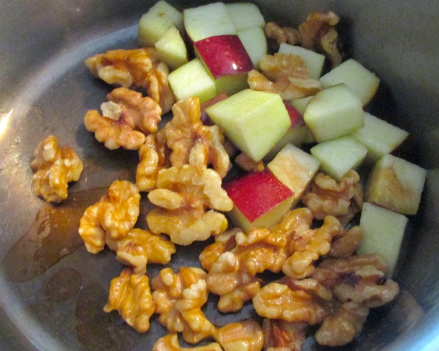 saute diced apples and walnuts in clarified butter until lightly caramelized
