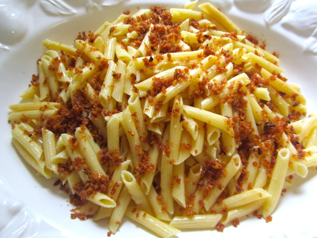 top pasta with a generous amount of pangrattato