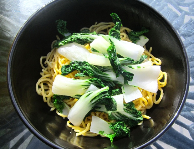 top with blanched bok choy