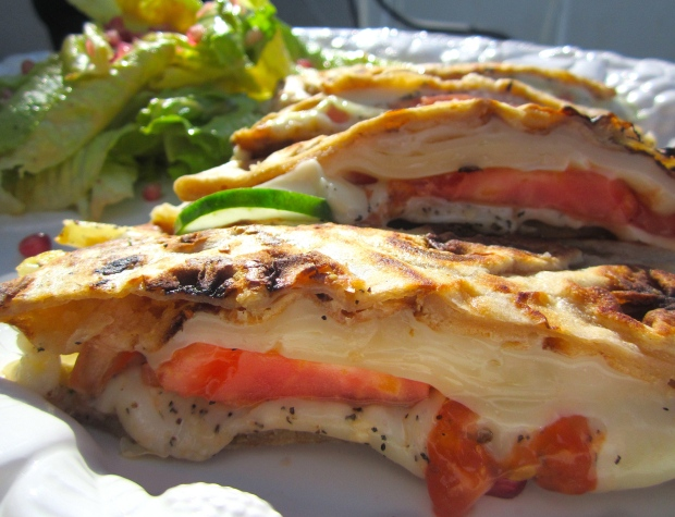 Paratha With Emmentaler, Tomato and Cucumber