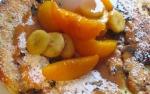 German Chocolate Pancake & Fruit Caramel Sauce