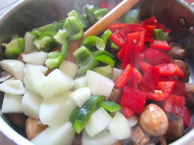 add onions and peppers (or other veggies of your choice)