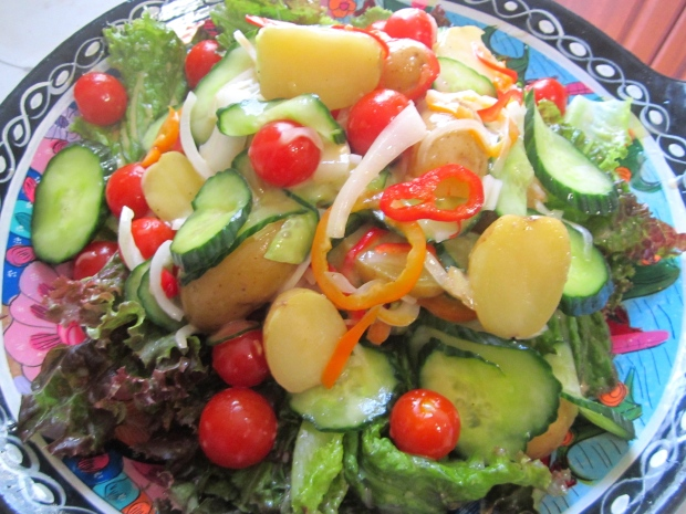 top greens with potato salad