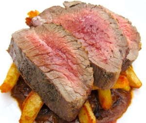 Broiled Flank Steak ,  Porcini In Cream And Pommes Frites
