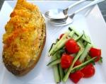 Shrimp-Loaded Twice Baked Potato & Cucumber/Tomato Salad In Chili/Lime Vinaigrette